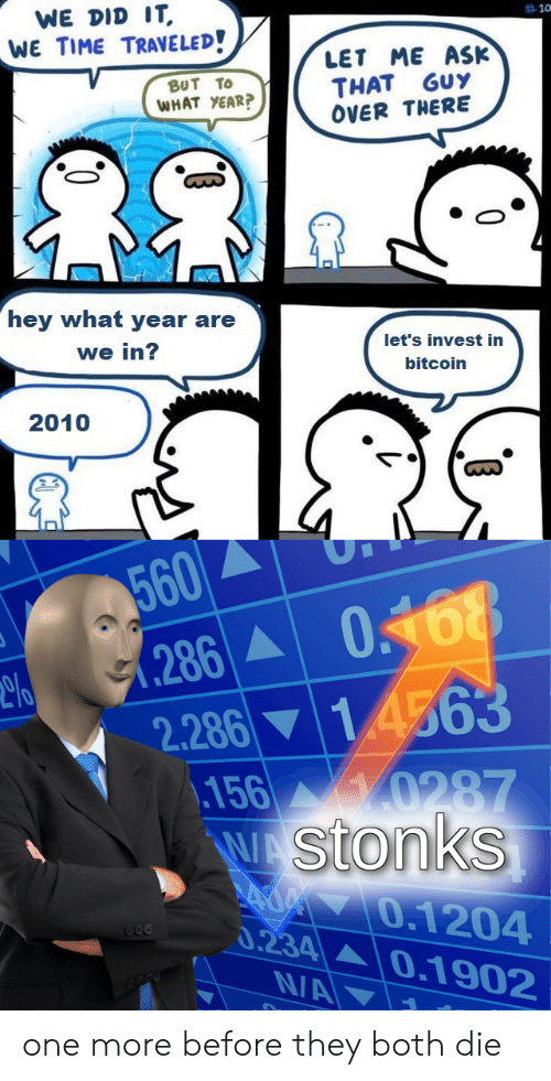 Bitcoin: WE DID IT  WE TIME TRAVELED!  10  ME ASK  LET  THAT GUY  OVER THERE  βυT Το  WHAT YEAR?  hey what year are  let's invest in  we in?  bitcoin  2010  560  (286  2.286 14563  156 0287  WAStonks  AOM7O.1204  0.234 0.1902  660  N/A one more before they both die
