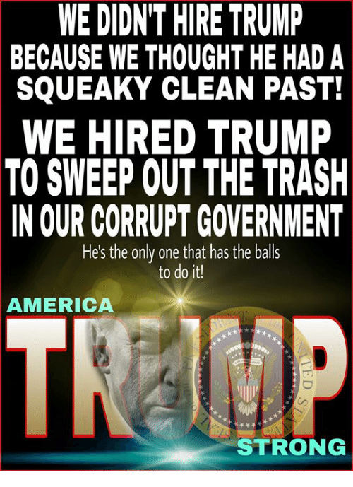 America, Memes, and Trash: WE DIDN'T HIRE TRUMP  BECAUSE WE THOUGHT HE HAD A  SQUEAKY CLEAN PAST!  WE HIRED TRUMP  TO SWEEP OUT THE TRASH  IN OUR CORRUPT GOVERNMENT  He's the only one that has the balls  to do it!  AMERICA  STRONG
