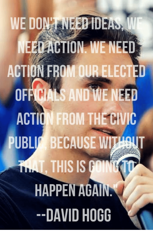 hogg: WE DONT NEEDIDEA  S A  NEEDACTION. WE NEED  ACTION FROM OUR ELECTED  OFFICIALS AND WE NEED  ACTION FROM THECIVIC  PUBLI BECAUSE WIHOUT  T.  THIS IS GOINET  HAPPEN AGA  DAVID HOGG