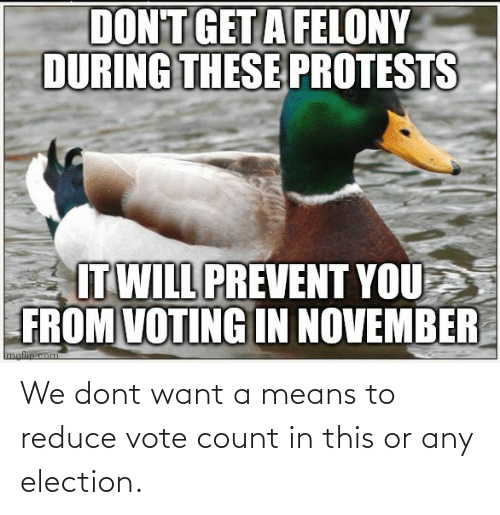 dont: We dont want a means to reduce vote count in this or any election.