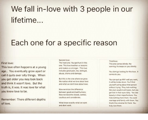 We Fall In-Love With 3 People In Our Lifetime Each One For
