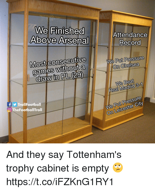 Leicester: We Finished  Above Arsena  Attendance  Record  Most consecutive  games without a  draw in PL (29)  We Put Pressure  On Chelsea  We Beat  Real Madrid 3-1  TrollFootball  O TheFootballTroll  We Put Pressure  On Leicester City And they say Tottenham's trophy cabinet is empty 🙄 https://t.co/iFZKnG1RY1