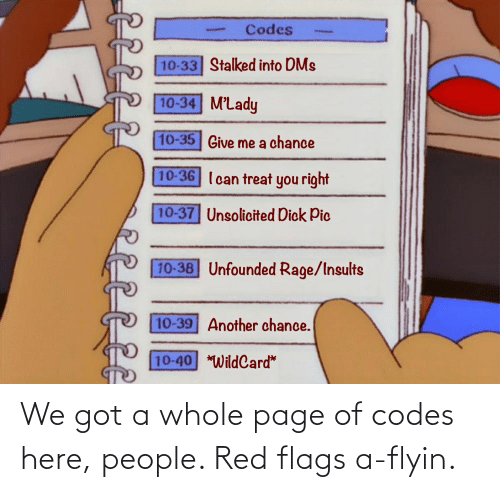 flags: We got a whole page of codes here, people. Red flags a-flyin.
