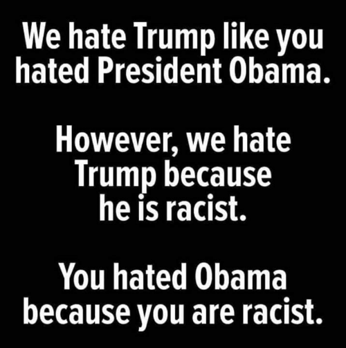 Hate Trump: We hate Trump like you  hated President Obama.  However, we hate  Trump because  he is racist.  You hated Obama  because you are racist.