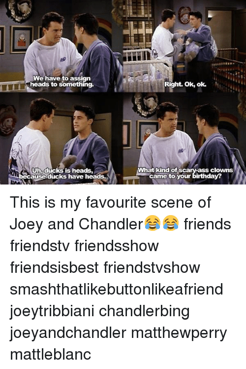 joey and chandler: We have to assign  heads to  something.  CUhh ducks is heads.  twi because ducks have heads.  Right. Ok, ok.  What kind of sca  clowns  came to  your birthday? This is my favourite scene of Joey and Chandler😂😂 friends friendstv friendsshow friendsisbest friendstvshow smashthatlikebuttonlikeafriend joeytribbiani chandlerbing joeyandchandler matthewperry mattleblanc