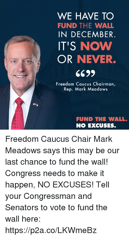 now or never: WE HAVE TO  FUND THE WALL  IN DECEMBER  IT'S NOW  OR NEVER.  Freedom Caucus Chairman  Rep. Mark Meadows  FUND THE WALL.  NO EXCUSES. Freedom Caucus Chair Mark Meadows says this may be our last chance to fund the wall! Congress needs to make it happen, NO EXCUSES!  Tell your Congressman and Senators to vote to fund the wall here: https://p2a.co/LKWmeBz