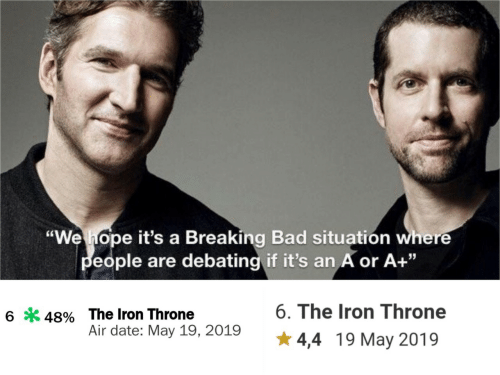 "Debating: ""We hope it's a Breaking Bad situatión where  eople are debating if it's an A or A+""  6. The Iron Throne  6*48% The Iron Throne  Air date: May 19, 2019  4,4 19 May 2019"