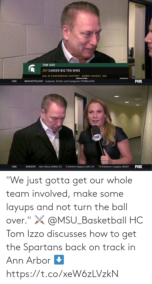 """spartans: """"We just gotta get our whole team involved, make some layups and not turn the ball over."""" ⚔️  @MSU_Basketball HC Tom Izzo discusses how to get the Spartans back on track in Ann Arbor ⬇️ https://t.co/xeW6zLVzkN"""