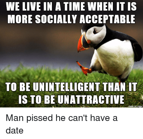 Neckbeard Things: WE LIVE IN A TIME WHEN IT IS  MORE SOCIALLY ACCEPTABLE  TO BE UNINTELLIGENT THAN IT  IS TO BE UNATTRACTIVE  on Inngur Man pissed he can't have a date