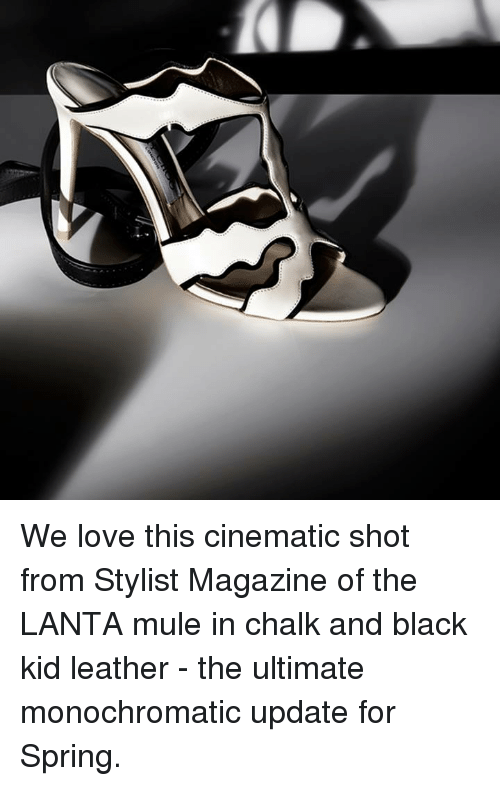 Memes, 🤖, and Mule: We love this cinematic shot from Stylist Magazine of the LANTA mule in chalk and black kid leather - the ultimate monochromatic update for Spring.