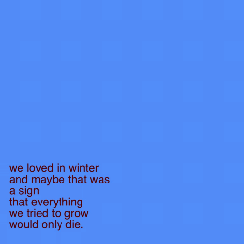 We Tried: we loved in winter  and maybe that was  a sign  that everything  we tried to grow  would only die.