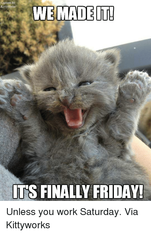 Work Saturday: WE MADE IT!  ITS FINALLY FRIDAY! Unless you work Saturday. Via Kittyworks