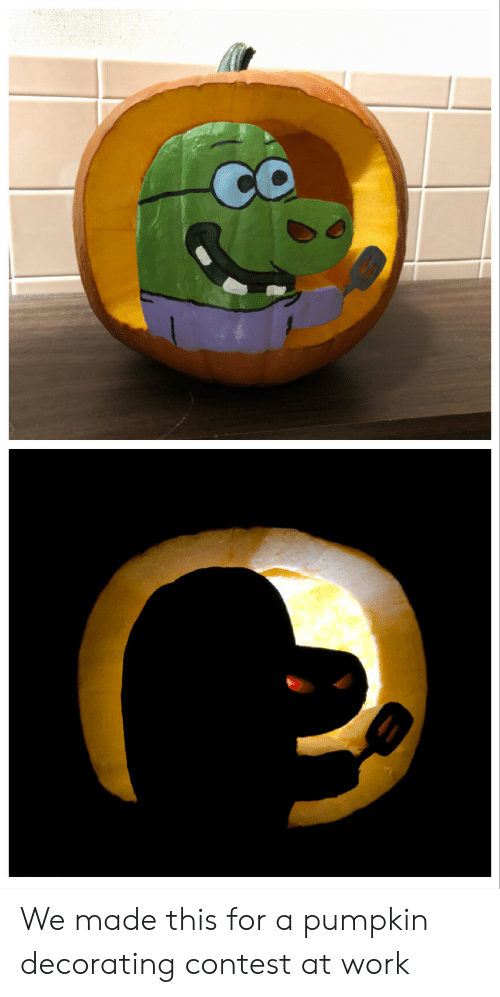 decorating: We made this for a pumpkin decorating contest at work