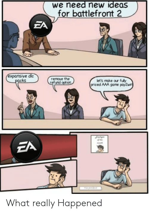 Battlefront: we need new ideas  for battlefront  ZA  expansive dic  remove the  efund  cks  let's make our fuly  priced AAA game pay2w What really Happened