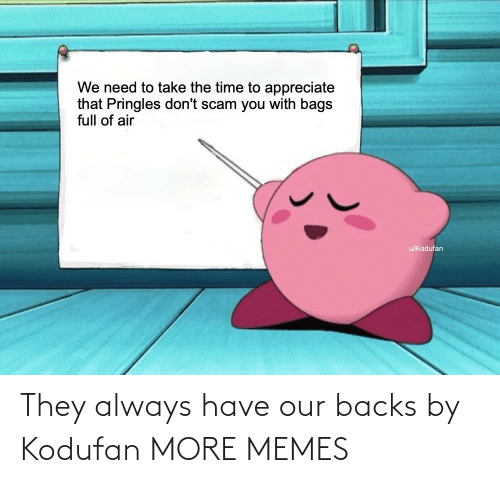 Pringles: We need to take the time to appreciate  that Pringles don't scam you with bags  full of air  u/Kodufan They always have our backs by Kodufan MORE MEMES