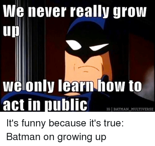 Memes, 🤖, and Multiverse: We never really grow  up  We only learn how to  act in public  IG BATMAN MULTIVERSE It's funny because it's true: Batman on growing up