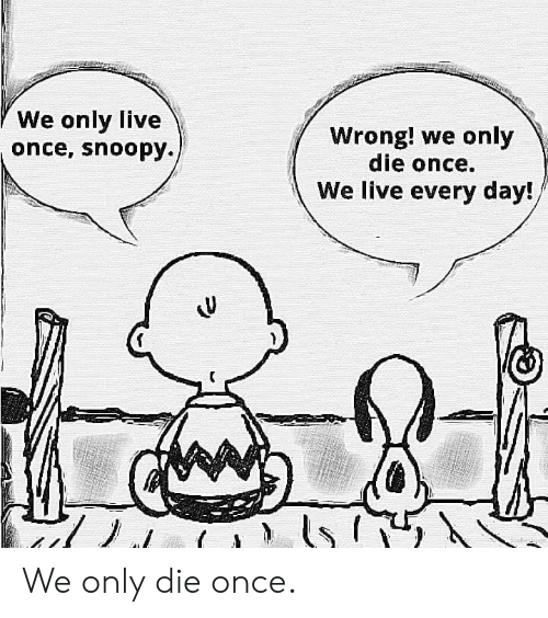 Snoopy: We only live  once, snoopy.  Wrong! we only  die once.  We live every day! We only die once.