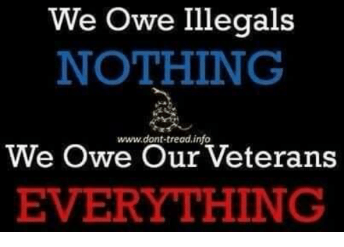 Memes, 🤖, and Owe: We Owe Illegals  NOTHING  www. dont tread info  We Owe Our Veterans  EVERYTHING