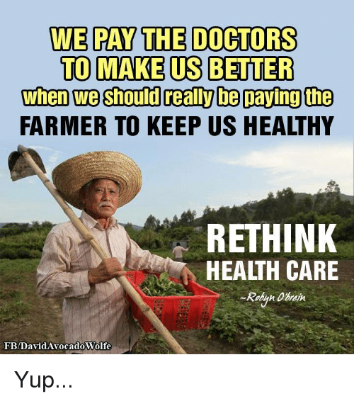Realied: WE PAY THE DOCTORS  TO MAKE US BETTER  when we should reali be paying the  FARMER TO KEEP US HEALTHY  RETHINK  HEALTH CARE  Robyn  FB/DavidAvocadoWolfe Yup...