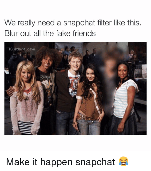 Funny Memes About Fake Friends : We really need a snapchat filter like this blur out all