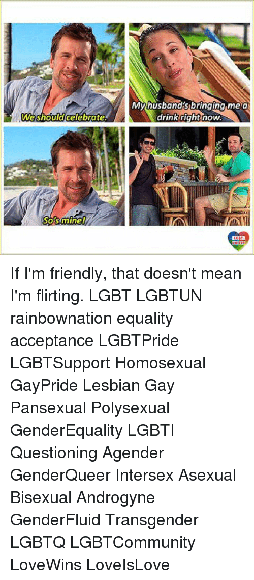 Lgbt, Memes, and Transgender: We should celebrate  SO STmine!  My husband's bringing me a  drink right now If I'm friendly, that doesn't mean I'm flirting. LGBT LGBTUN rainbownation equality acceptance LGBTPride LGBTSupport Homosexual GayPride Lesbian Gay Pansexual Polysexual GenderEquality LGBTI Questioning Agender GenderQueer Intersex Asexual Bisexual Androgyne GenderFluid Transgender LGBTQ LGBTCommunity LoveWins LoveIsLove