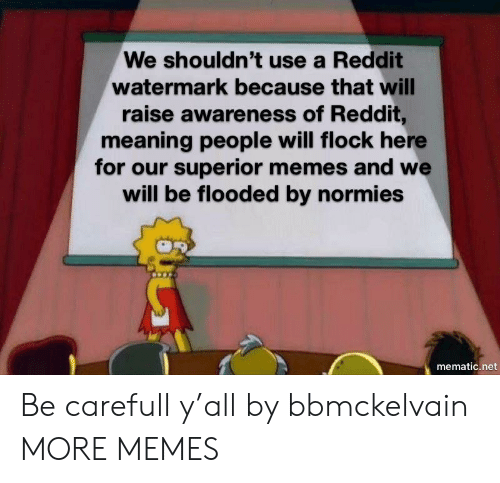 watermark: We shouldn't use a Reddit  watermark because that will  raise awareness of Reddit,  meaning people will flock here  for our superior memes and we  will be flooded by normies  mematic.net Be carefull y'all by bbmckelvain MORE MEMES