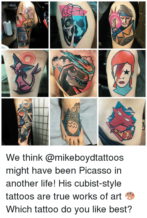 Do You Like: We think @mikeboydtattoos might have been Picasso in another life! His cubist-style tattoos are true works of art 🎨 Which tattoo do you like best?