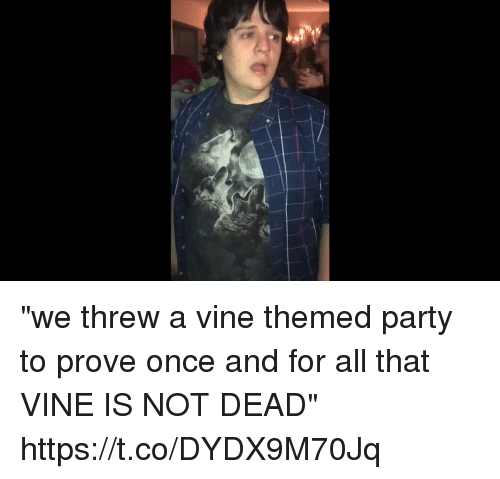 """Party, Vine, and Girl Memes: """"we threw a vine themed party to prove once and for all that VINE IS NOT DEAD"""" https://t.co/DYDX9M70Jq"""