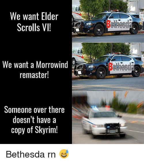 morrowind: We want Elder  Scrolls VII  d  We want a Morrowind  remaster!  Someone over there  doesn't have a  copy of Skyrim! Bethesda rn 😅