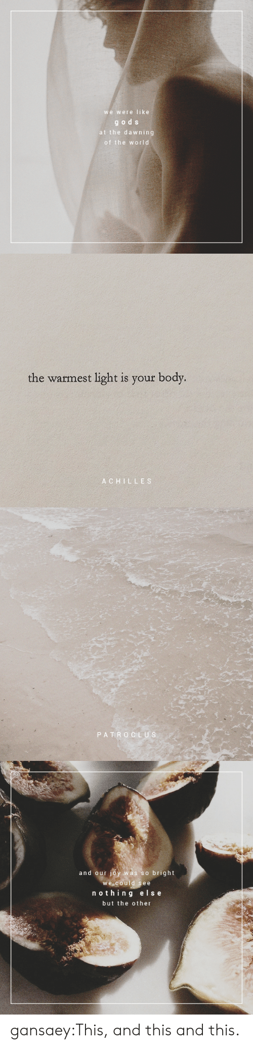 achilles: we were like  gods  at the dawning  of the world   the warmest light is your body.  ACHILLES   PATRO CLUS   and our joy was so bright  we could see  nothin g else  but the other gansaey:This, and this and this.