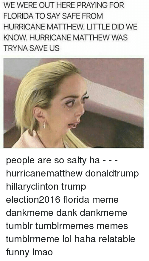 Florida Meme: WE WERE OUT HERE PRAYING FOR  FLORIDA TO SAY SAFE FROM  HURRICANE MATTHEW. LITTLE DID WE  KNOW. HURRICANE MATTHEW WAS  TRYNA SAVE US people are so salty ha - - - hurricanematthew donaldtrump hillaryclinton trump election2016 florida meme dankmeme dank dankmeme tumblr tumblrmemes memes tumblrmeme lol haha relatable funny lmao