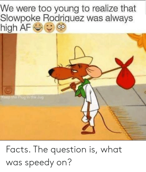 The Plug: We were too young to realize that  Slowpoke Rodriquez was always  high AF  Keep the Plug in te Jug Facts. The question is, what was speedy on?