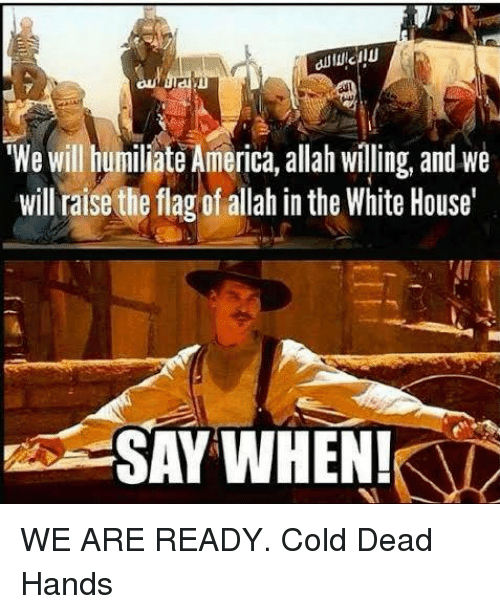 flags: We Will humiliate America, allah willing, and we  will raise the flag of allah in the White House'  SAY WHEN! WE ARE READY. Cold Dead Hands