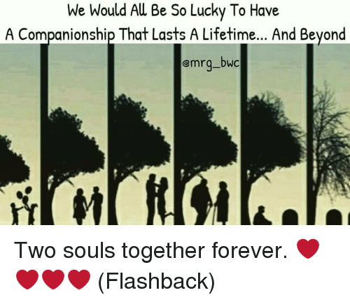 Memes, Companionship, and 🤖: We Would Au Be So Lucky To Have  A Companionship That Lasts A Lifetime... And Beyond  emrg-DWC Two souls together forever. ❤❤❤❤ (Flashback)