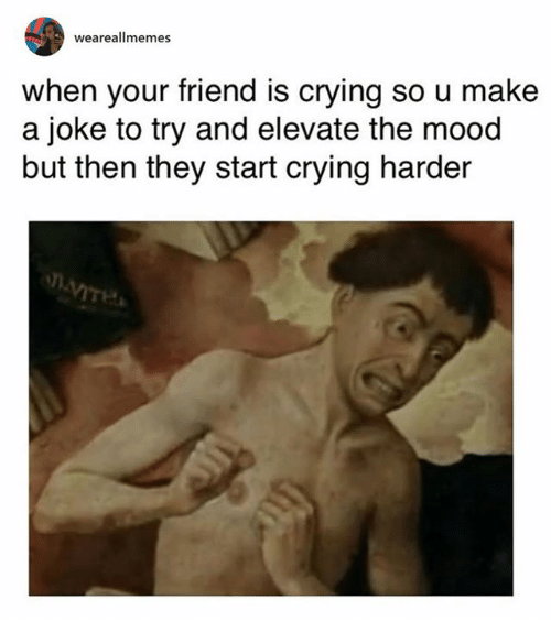 Crying, Mood, and Classical Art: weareallmemes  when your friend is crying so u make  a joke to try and elevate the mood  but then they start crying harder