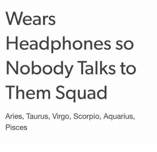 Squade: Wears  Headphones so  Nobody Talks to  Them Squad  Aries, Taurus, Virgo, Scorpio, Aquarius,  Pisces