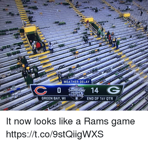 Football, Nfl, and Sports: WEATHER DELAY  RSD  NIGH  FOOTBA  GREEN BAY, WIEND OF 1ST OTR It now looks like a Rams game https://t.co/9stQiigWXS