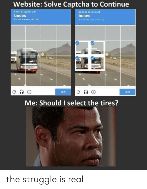 The Struggle is Real: Website: Solve Captcha to Continue  Select all squares with  Select all squares with  buses  buses  If there are none, click skip  If there are none click skip  SKIP  NEXT  Me: Should I select the tires? the struggle is real