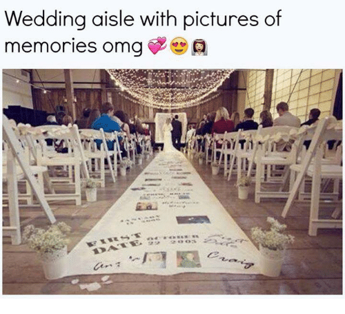 Relationships, Pictures, and Wedding: Wedding aisle with pictures of  memories omga