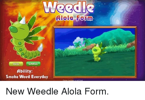 Dank, Smoke Weed Everyday, and Smoking: Weed!  Alola Form  BUG  GRASS  Ability:  Smoke Weed Everyday New Weedle Alola Form.