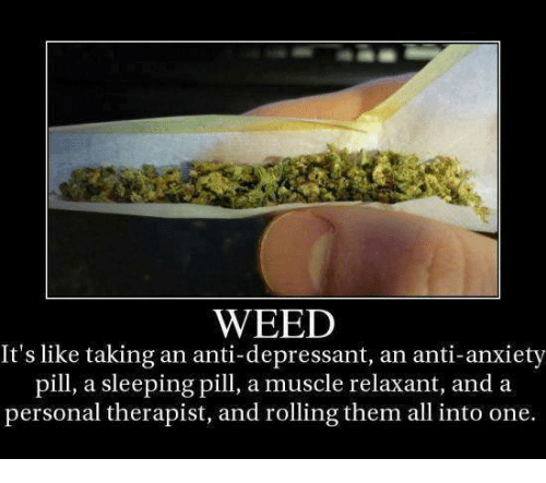 Memes, Weed, and Anxiety: WEED  It's like taking an anti-depressant, an anti-anxiety  pill, a sleeping pill, a muscle relaxant, and a  personal therapist, and rolling them all into one.