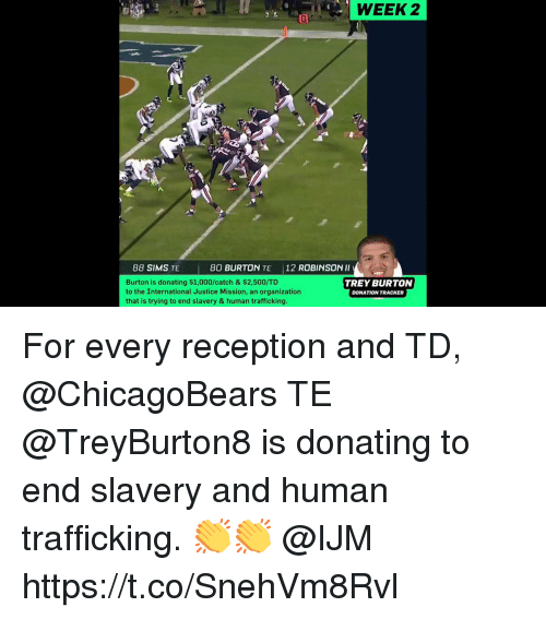 burton: WEEK  2  88 SIMS TE  80 BURTON TE 12 ROBINSON Il  Burton is donating $1,000/catch & $2,500/TD  to the International Justice Mission, an organization  that is trying to end slavery & human trafficking  TREY BURTON  DONATION TRACKER For every reception and TD, @ChicagoBears TE @TreyBurton8 is donating to end slavery and human trafficking. 👏👏 @IJM https://t.co/SnehVm8Rvl