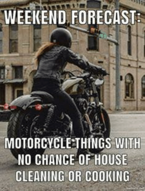 House Cleaning: WEEKEND FORECAST  MOTORCYCLE:THINGS WITH  NO CHANCE OF HOUSE  CLEANING OR COOKING