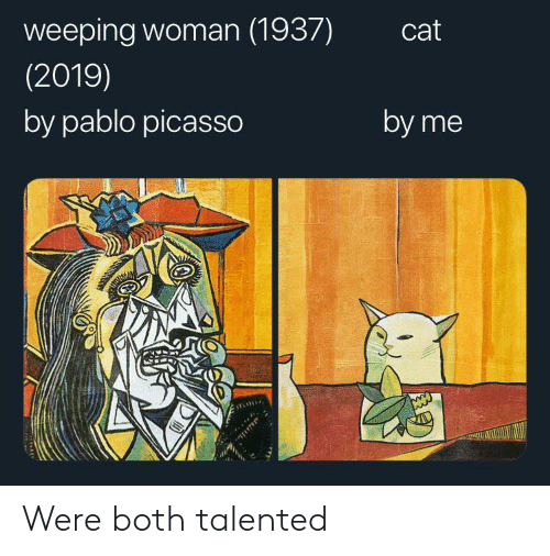 talented: weeping woman (1937)  cat  (2019)  by pablo picasso  by me Were both talented