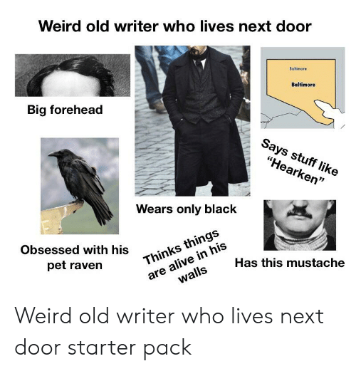 """big forehead: Weird old writer who lives next door  Baltimore  Baltimore  Big forehead  vard  Says stuff like  """"Hearken""""  Wears only black  Obsessed with his  are alive in his  walls  Thinks things  pet raven  Has this mustache Weird old writer who lives next door starter pack"""