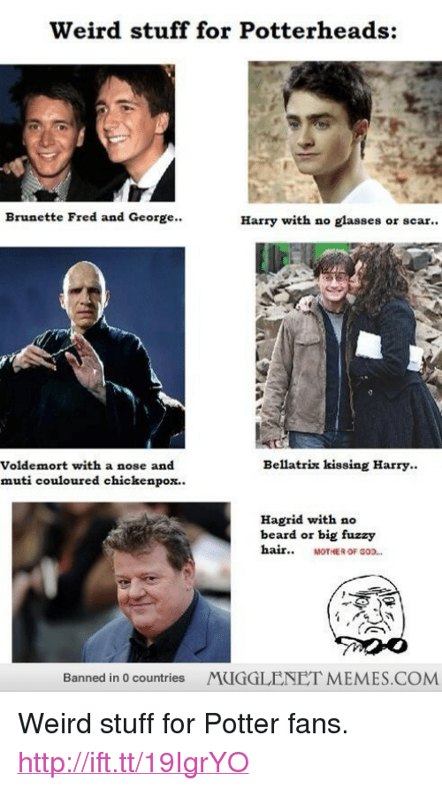 """chickenpox: Weird stuff for Potterheads:  Brunette Fred and George..  Harry with no glasses or scar..  Bellatrix kissing Harry.  Voldemort with a nose and  muti couloured chickenpox..  Hagrid with no  beard or big fuzzy  hair MOTHER OF 0O.  Banned in 0 countries MUGGLENET MEMES.COMM <p>Weird stuff for Potter fans. <a href=""""http://ift.tt/19IgrYO"""">http://ift.tt/19IgrYO</a></p>"""