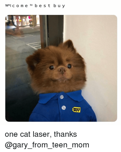Teen Mom: Wel c o me to b e s t b u y  BEST  BUY one cat laser, thanks @gary_from_teen_mom