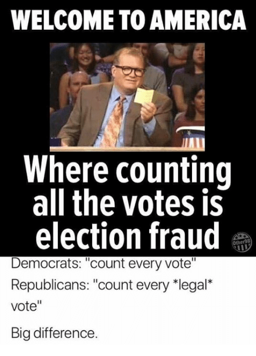 """welcome to america: WELCOME TO AMERICA  Where counting  all the votes is  election fraud  Democrats: """"count every vote""""  Republicans: """"count every 치egal""""  vote""""  Big difference"""