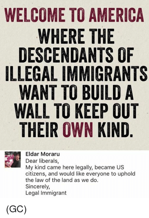 America, Memes, and Sincerely: WELCOME TO AMERICA  WHERE THE  DESCENDANTS OF  ILLEGAL IMMIGRANTS  WANT TO BUILD A  WALL TO KEEP OUT  THEIR OWN KIND  Eldar Moraru  Dear liberals  My kind came here legally, became US  citizens, and would like everyone to uphold  the law of the land as we do.  Sincerely,  Legal immigrant (GC)
