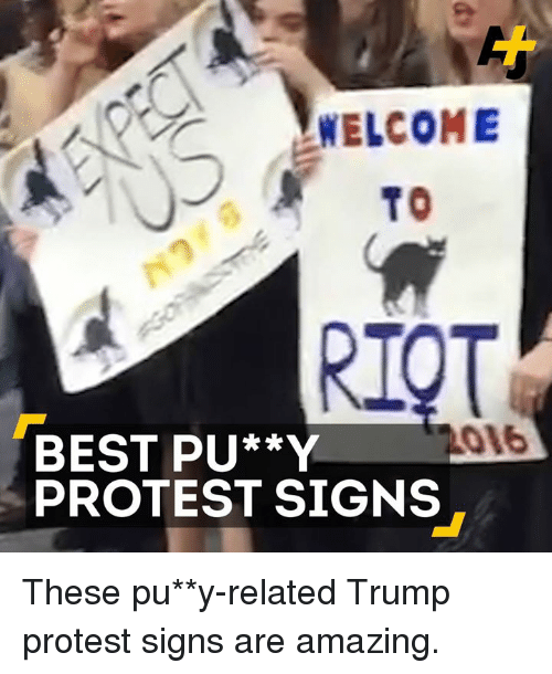 Memes, Protest, and Amaz: WELCOME  TO  BEST PU**Y  PROTEST SIGNS These pu**y-related Trump protest signs are amazing.